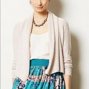 Anthropologie Knitted Knotted Open Front Cardigan